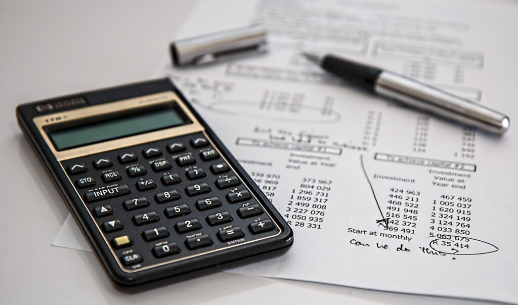 Calculator and tax papers
